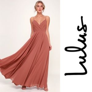 Lulus All About Love Rusty Rose Maxi Dress NWT